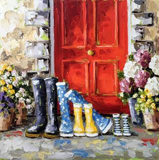 Red doors and boots