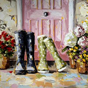 Pink doors and boots